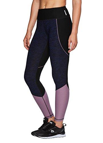 RBX Active Women's Color Block Yoga Legging Navy with Mauve M (Color Block Tights)