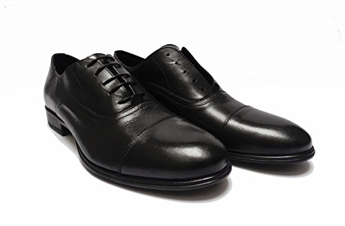 ANTICA CUOIERIA Zapatos de Cordones de Piel Para Hombre Negro Negro 43