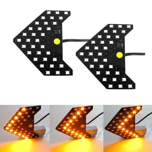 (iJDMTOY Sequential Flashing 33-SMD Side Mirror <<< LED Turn Signal Arrows, Amber)