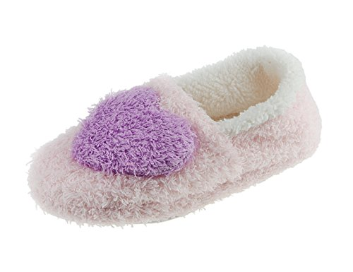 BXT Cute Heart Shape Cosy Coral Fleece Full Slippers Mule House Slip-on Warm Mules for Teenage Girls Small Ladies Christmas Xmas Gift One Size UK 2-4(EURO 35-37)