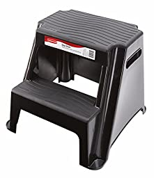 Rubbermaid RM-P2 2-Step Molded Plastic Stool with Non-Slip Step Treads, 300-Pound Capacity, Black Finish