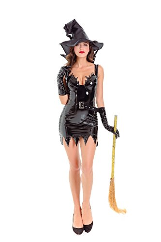 Halloween Costume Devon Q Black Sexy Hot Adult Patent Leather Lady Fancy Ball Cosplay (Purple Minion Costume Makeup)