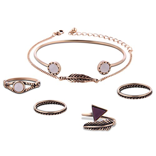 8a969625259 6 PCS Vintage Bohemian Style Women Bracelets And Knuckle Rings Set 4 Joint  Nail Midi Rings 2 Bracelets for Daily Wear Anniversary Wedding Gold