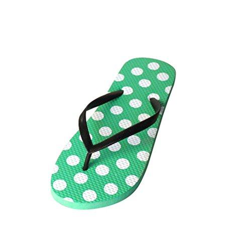 Chanclas Mujer,Xinan Fracasos de Tirón Slip-On Sandalias Planas de los Deslizadores Verde