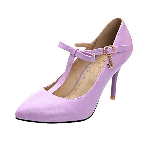 MissSaSa Damen eleant high-heel T-Spange Pointed Toe Schnalle Pumps mit  Schleife und