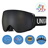 Unigear Skido X2 Kids Ski Goggles, 100% UV Protection Over The Glasses Snow Goggles with Toric Double Lens for Boys and Girls (Silver Lens (VLT 9.9%))