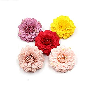 Marigold Fake Flower Heads Bulk Silk Artificial Flowers Wedding Party Decorative Flower DIY Festival Home Decor Hat Ornament Simulation Fake Flower Flower Decorative 15pcs (Multicolor) 1