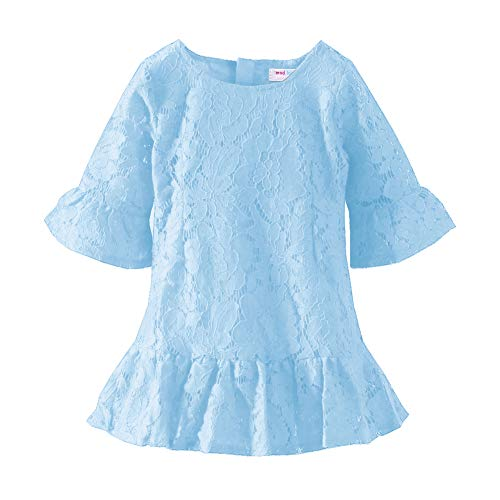 (Mud Kingdom Little Girl Dresses Lace Eyelet Flare Sleeve Size 5 Blue)