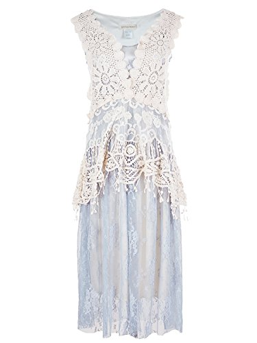 Anna-Kaci Womens Vintage Lace Gatsby 1920s Cocktail Dress with Crochet Vest, Blue, Large/X-Large