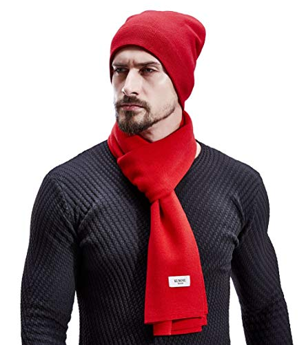 KUMONE Men Winter Cashmere Scarf Wool Knit Scarves, Red Scarf for Men ()