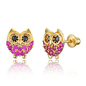 - 41vDgUV3PbL - 14k Gold Plated Brass Red Owl Cubic Zirconia Screwback Baby Girls Earrings with Sterling Silver Post