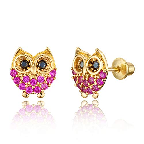 14k Gold Plated Brass Red Owl Cubic Zirconia Screwback Baby Girls Earrings with Sterling Silver Post (Baby Owl Jewelry)