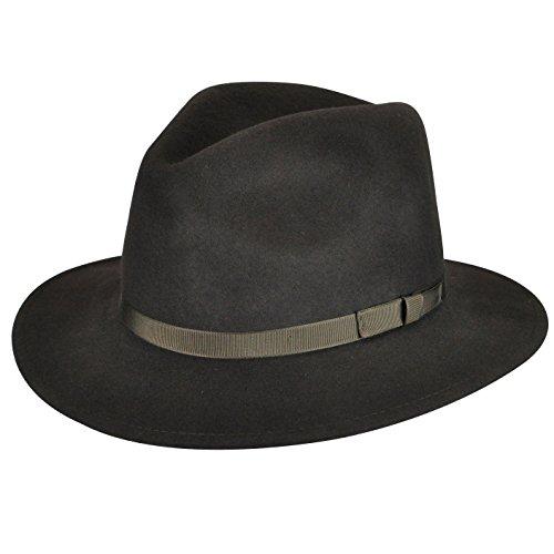 Country Gentleman Men's Wilton Wool Fedora Hat, Brown, XL