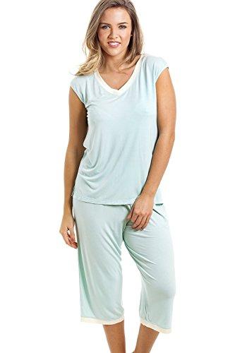 Damen Schlafanzug - Ärmellos mit Caprihose - Mintgrün Grun