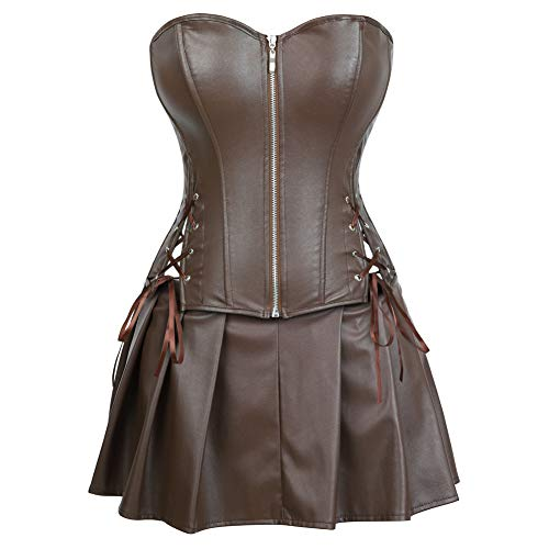 - frawirshau Corset Dress Women's Faux Leather Overbust Stempunk Corset Bustier with Mini Skirt Brown 3XL