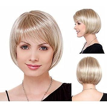 OOFAY JF® cabello natural bob elegante corta pelucas sintéticas para mujeres cortas rectas pelucas llenas