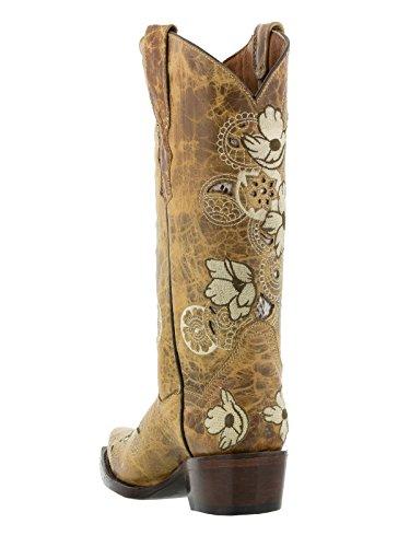 Scarpe Da Cowboy Da Donna Professionali Noruega Sand Boots In Pelle Floreale Snip Toe Sand