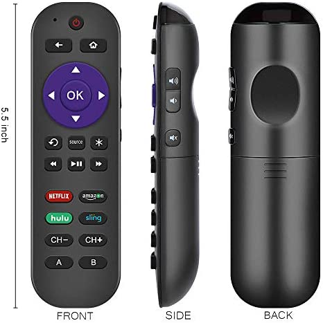 Gvirtue Programmable Universal Remote Control Fits for Roku Player 1 2 3 4 Premier/+ Express/+ Ultra with 9 More Learning Keys to Control TV/Soundbar/Receiver (Not for Roku Streaming Stick)