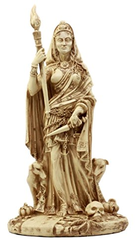 Ebros Gift Pagan Deity Hecate Statue Greek Goddess of Magic Witchcraft Necromancy Hekate with She-Dogs Decorative Figurine 10.75 H Neutral Finish