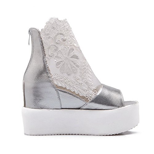 Women's Heels Material AllhqFashion Sandals Silver Toe Peep Zipper Solid Soft High YqBCBd