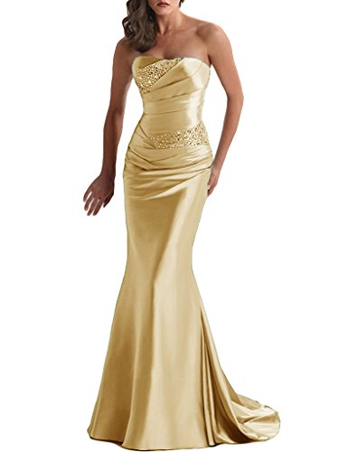 APXPF Women's Long Beaded Mermaid Evening Bridesmaid Dress Formal Prom Gown Gold US6