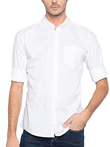4354b91bc490 Nick   Jess Mens Solid White Semi Formal Cum Casual Oxford Cotton Slim Fit  Shirt  Amazon.in  Clothing   Accessories