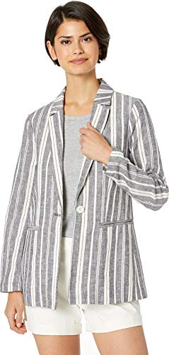 cupcakes and cashmere Women's Maestro Striped Linen Blend Boyfriend Blazer, Ink, 4
