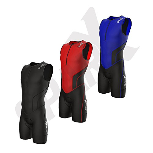 Sparx X Triathlon Suit Men Racing Tri Cycling Skin Suit Bike Swim Run (Black, - Men Suit Triathlon