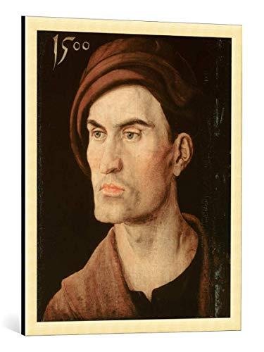 kunst für alle Framed Art Print: Albrecht Dürer Bildnis eines Jungen Mannes - Decorative Fine Art Poster, Picture with Frame, 25.6x31.5 inch / 65x80 cm, Gold Brushed