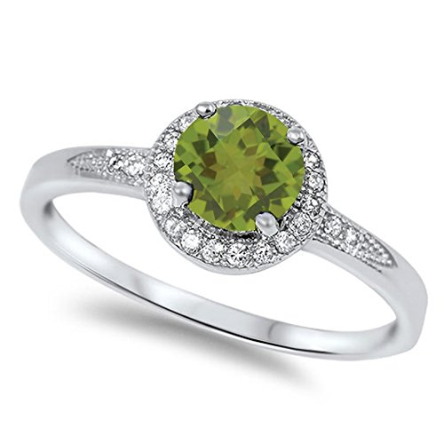 (925 Sterling Silver Faceted Natural Genuine Green Peridot Round Halo Ring Size 8)