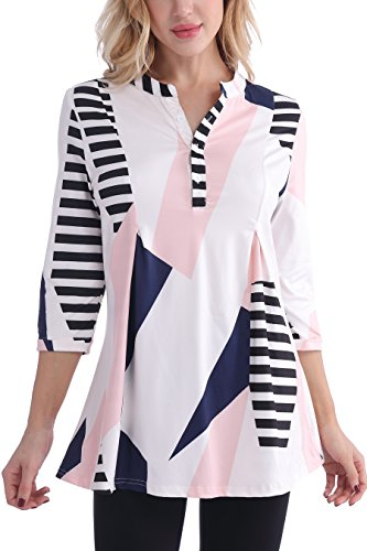 Colour Block Tunic Top - Bzonly 3/4 Cuffed Sleeve Womens Tops V Neck Button Henley Color Block Tunic Shirt