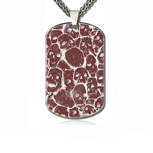 PANQJN Grungy Skull Personalized Pet Necklace ID Tags for Dogs & Cats, Includes Protect Tag & Single-Sided (Grungy Tags)