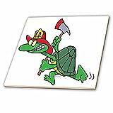 3dRose ct_104057_2 Funny Fireman Firefighter Turtle Cartoon-Ceramic Tile, 6-Inch