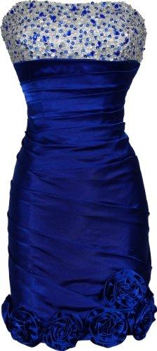 Beaded Satin Empire Mini Prom Dress Florettes Formal, XS, Royal-White