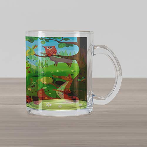 Ambesonne Hedgehog Glass Mug, Open Air Concert in Forest Instrument Playing Bear Rabbit Fox and Tweeting Bird, Printed Clear Glass Coffee Mug Cup for Beverages Water Tea Drinks, Multicolor (Open Concert Air)