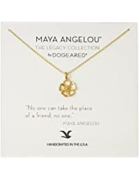"""Maya Angelou"" No One Can Take The Place of A Friend Cutout Flower Charm Pendant Necklace"