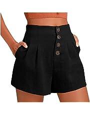 Bravetoshop Women Cotton Linen Shorts Button High Waist Summer Loose Shorts with Pockets Fashion Streewear