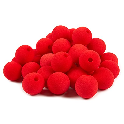 Blue Panda 36-Pack of Clown Noses - Circus Themed Birthday Party Supplies, Foam Red Noses, Carnival Party Dress Up, Red - 2 x 2 x 2 Inches -