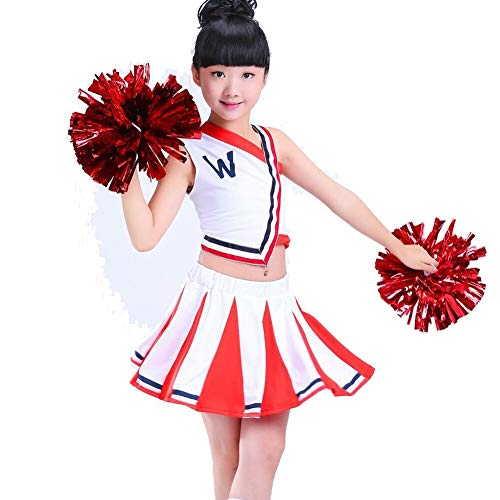 Little Girls' 2 Piece High School Cheerleading Uniform Costume Complete Outfit Cosplay Fancy Dress Match Pompoms Red]()