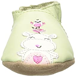 Robeez Happy Hippos Soft Sole Crib Shoe (Infant), Pastel Green, 12-18 Months M US