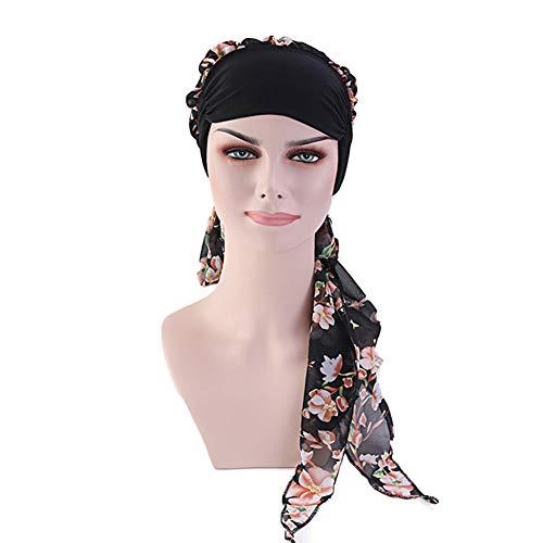 DuoZan Women's Chiffon Headscarf Wide Band Headwraps Chemo Turbans Hair Loss Cap (Black) -