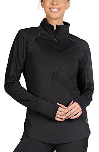 - icyzone Women's Workout Yoga Track Jacket 1/2 Zip Long Sleeve Running Shirt(XL, Black)