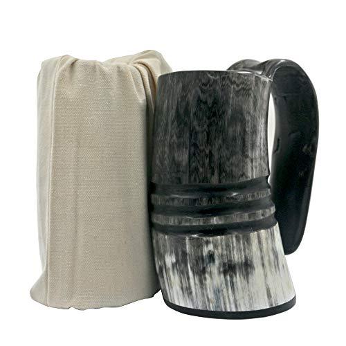 Ox Horn Mug-Natural Buffalo Horn Viking Drinking Mug Viking Mug Cup (With Ring carving)