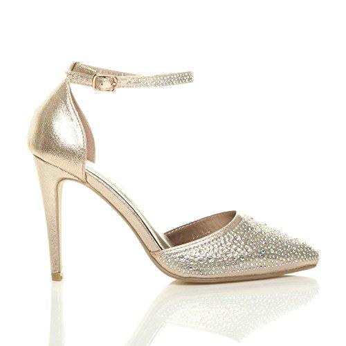 Femmes Strass Chaussures Cheville Talon Escarpins Or Sangle Pointure Haut Pointus srtQCxhd