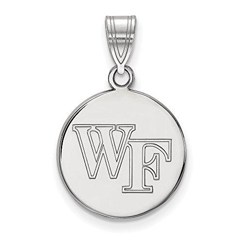 Beautiful Sterling silver 925 sterling Sterling S. Rh-plated LogoArt Wake Forest University Medium Disc Pendant
