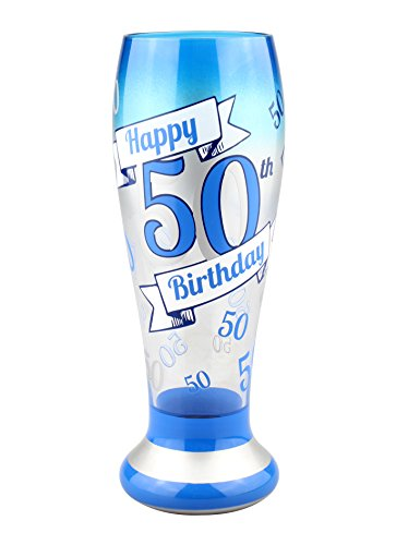 glass 50th birthday beer mug - 1