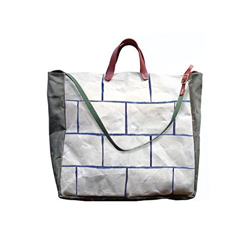 Convertible Bucket Tote, Crossbody w/ Leather Straps - Indigo Brick by Velvet Lapin