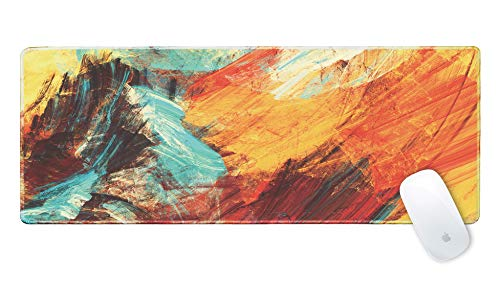 Galdas Gaming Mouse Pad XXL XL Large Mouse Pad Mat Long Extended Mousepad Desk Pad Non-Slip Rubber Mice Pads Stitched Edges Thin Pad (31.5x11.8x0.08 Inch)-Bright Abstract Painting Color Art