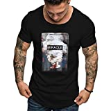 Men's Shirts Short Sleeve Fashion Casual Color Cotton O-Neck Print Top Blouse Black