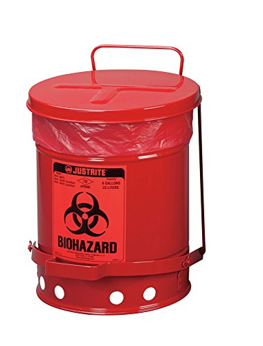 (Justrite 05910R Biohazard Waste Can, 6 Gal, Red)